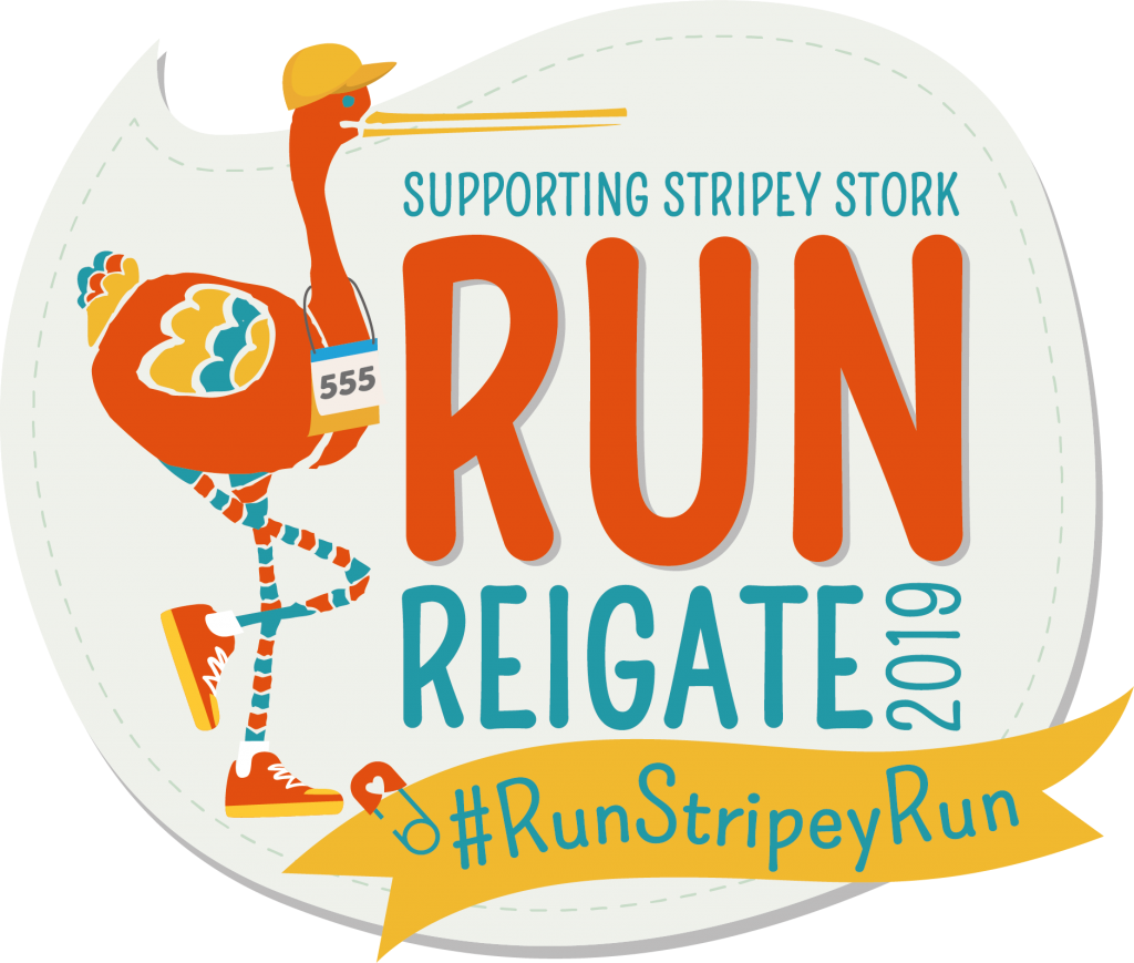 Stripey Stork Run Reigate logo